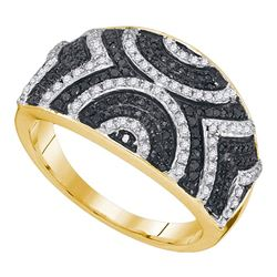 0.50 CTW Black Color Diamond Geometric Ring 10KT Yellow Gold - REF-37F5N