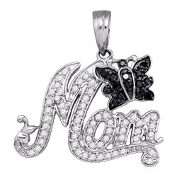 0.35 CTW Black Color Diamond Mom Mothers Butterfly Bug Charm Pendant 10KT White Gold - REF-25F4N