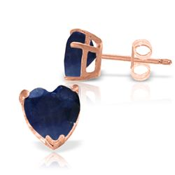 Genuine 3.1 ctw Sapphire Earrings Jewelry 14KT Rose Gold - REF-31Y2F