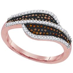 0.33 CTW Red Color Diamond Bypass Ring 10KT Rose Gold - REF-37Y5X