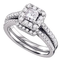 1 CTW Princess Diamond Halo Bridal Engagement Ring 14KT White Gold - REF-179F9N