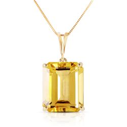 Genuine 6.5 ctw Citrine Necklace Jewelry 14KT Yellow Gold - REF-35T2A