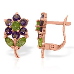 Genuine 2.12 ctw Peridot & Amethyst Earrings Jewelry 14KT Rose Gold - REF-36Y8F