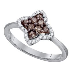0.33 CTW Cognac-brown Color Diamond Cluster Ring 10KT White Gold - REF-22N4F