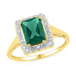 1.81 CTW Emerald Created Emerald Solitaire Ring 10KT Yellow Gold - REF-20H9M