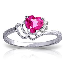 Genuine 0.97 ctw Pink Topaz & Diamond Ring Jewelry 14KT White Gold - REF-30P3H