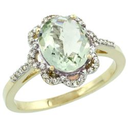 Natural 1.85 ctw Green-amethyst & Diamond Engagement Ring 10K Yellow Gold - REF-29H3W