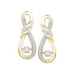 0.33 CTW Diamond Solitaire Ribbon Earrings 10KT Yellow Gold - REF-44W9K
