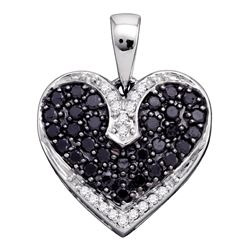 0.51 CTW Black Color Diamond Dainty Heart Pendant 10KT White Gold - REF-22X4Y