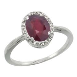 Natural 1.52 ctw Ruby & Diamond Engagement Ring 14K White Gold - REF-41N2G