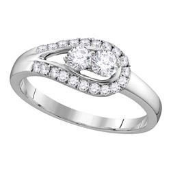 0.51 CTW Diamond 2-stone Bridal Wedding Engagement Ring 10KT White Gold - REF-44F9N