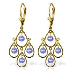 Genuine 2.4 ctw Tanzanite Earrings Jewelry 14KT Yellow Gold - REF-74Z6N