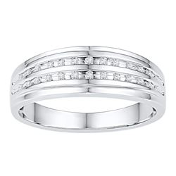 0.10 CTW Mens Channel-set Diamond Double Row Wedding Ring 10KT White Gold - REF-26K9W