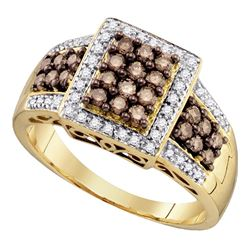 0.62 CTW Cognac-brown Color Diamond Square Cluster Ring 10KT Yellow Gold - REF-37X5Y