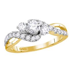 0.88 CTW Diamond 3-stone Bridal Engagement Ring 14KT Yellow Gold - REF-101K9W