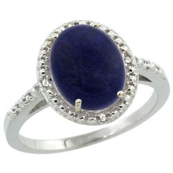 Natural 2.52 ctw Lapis & Diamond Engagement Ring 14K White Gold - REF-32X5A