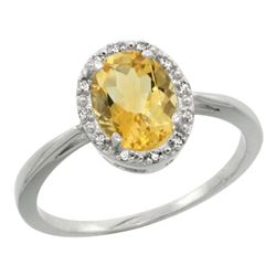 Natural 1.22 ctw Citrine & Diamond Engagement Ring 10K White Gold - REF-20A3V