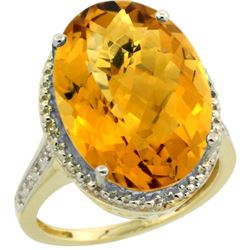 Natural 13.6 ctw Whisky-quartz & Diamond Engagement Ring 14K Yellow Gold - REF-68M4H