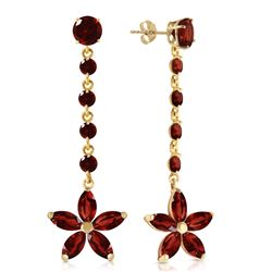 Genuine 4.8 ctw Garnet Earrings Jewelry 14KT Yellow Gold - REF-56W8Y