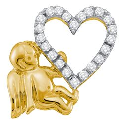0.16 CTW Diamond Cherub Angel Heart Pendant 10KT Yellow Gold - REF-19Y4X