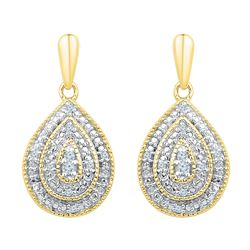 0.10 CTW Diamond Milgrain Teardrop Screwback Dangle Earrings 10KT Yellow Gold - REF-26H9M