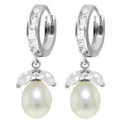 Genuine 10.30 ctw White Topaz & Pearl Earrings Jewelry 14KT White Gold - REF-56F7Z