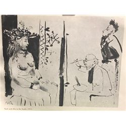 Nude with Hat in the Studio - Pablo Picasso Lithograph