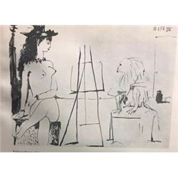 Monkey as Painter - Pablo Picasso Lithograph