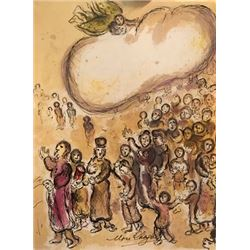 Moses Receives The Ten Commandments - Marc Chagall Lithograph