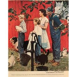 On The Yard - Norman Rockwell Lithograph