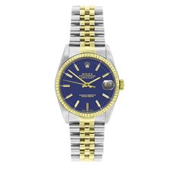Rolex Datejust Blue Face Yellow Gold