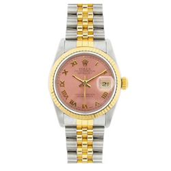 Rolex Datejust 18k Yellow Gold Samon Face Womens