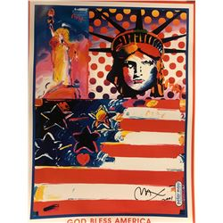 "Peter Max""God Bless America""Hand Signed"