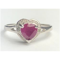 Elegant Silver Diamond Heart Ring(cts)
