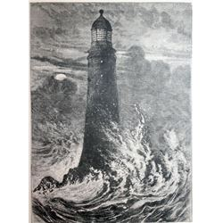 """Rare Signed Lithograph""""The Fourth Eddy Stone Lighthouse"""""""