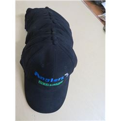 ANGLERS Hats - New Qty 11 Black w/blue/green/white stitching