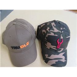 TRU GLO Hats - New Qty 4, Green w/Black /orange stitching; BADLANDS - New Camo w/red/stitching