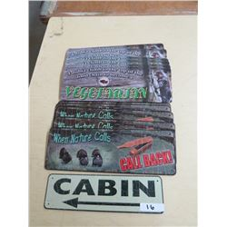 METAL SIGNS  - Qty 12, Cabin - 1, Call Back - 5; Vegetarian - 6