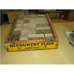 "DISPLAY CASE - Wood Fly Fish 61/2"" high, 20 plastic cases (1 missing)"
