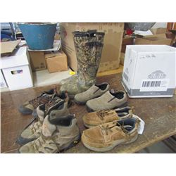 BOX of shoes, 1 pr boots, various sizes, returned
