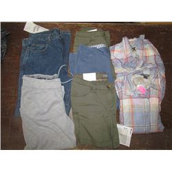 LADIES Jeans 34x32, Armour Capris, small; Green shorts qty 2, size 2 & 4; Blue shorts Size 10; Blue