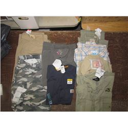 MENS - Cargo pants, beige 44x32; camo shorts size 44; T shirts XL and Lrg; Shirts, 2 XL and 2 Lrg, r