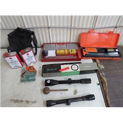 RIFLE SCOPES -2; 1 is BUSHNELL 10X40, 2 gun cleaning kits and black bag