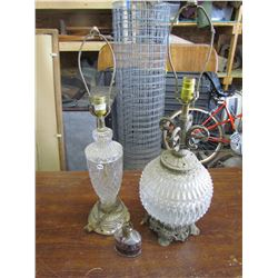 2 GLASS Lamps, 1 Oil Lamp, no shades