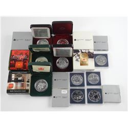 Lot (10) Canada Cased Silver Dollars, Proof and BU