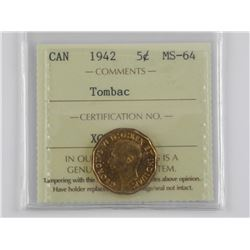 1942 CAD 5 Cent Tombac MS64. ICCS.