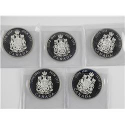 Lot (5) Canada 1983 925 Sterling Silver. Royal Wed