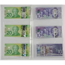 Lot (6) Bank of Canada Ten Dollar and Twenty Dolla