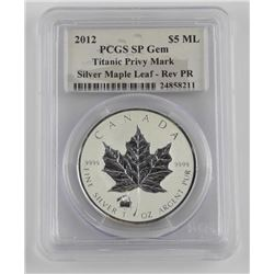 2012 - .9999 Silver Maple Leaf 5 Dollars, 1 Ounce