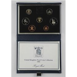 1985 UK Proof Coin Set Leather Case